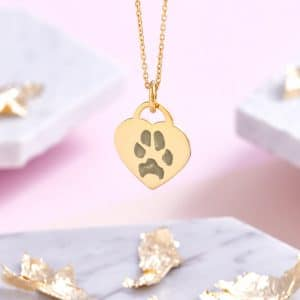 Gold Paw Print Heart Necklace