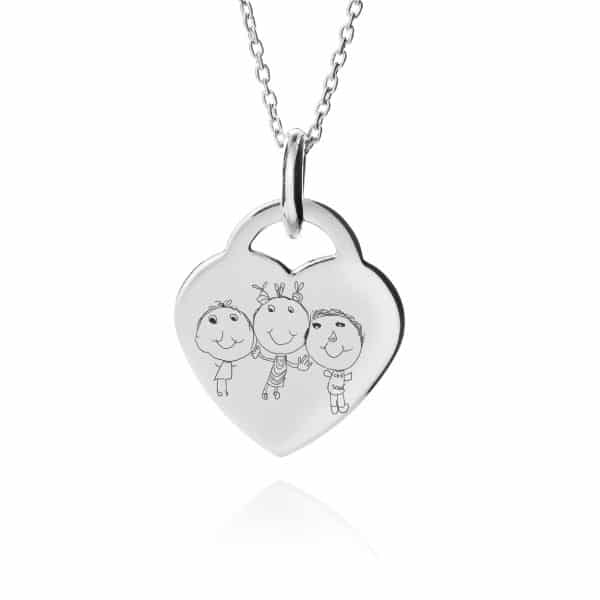 Inscripture - Childrens Drawing Heart Necklace