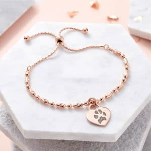 Rose Gold Paw Print Slider Bracelet - Inscripture - Paw Print Jewellery