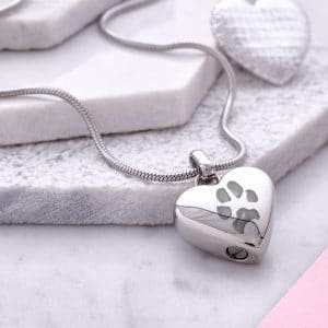 Silver Paw Print Ashes Necklace - Inscripture - Pet Cremation Jewellery