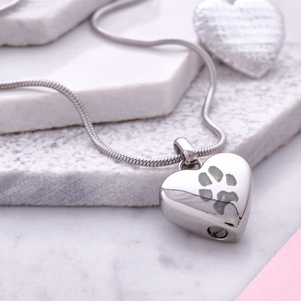 Inscripture - Silver Paw Print Ashes Necklace
