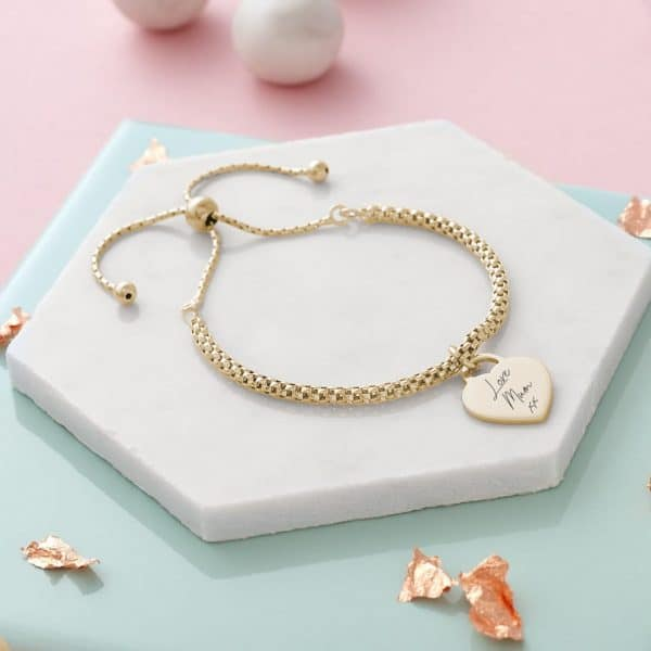 popcorn bracelet with heart charm gold_handwriting