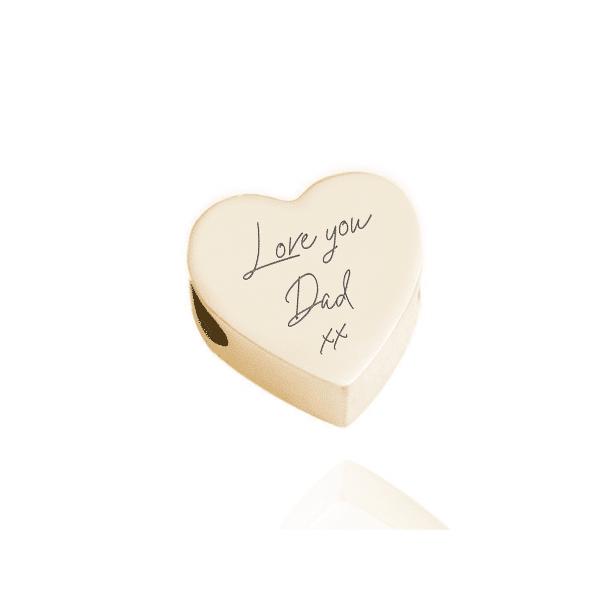 Inscripture gold heart Bead- words