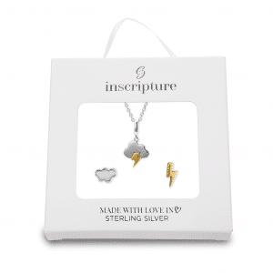 Cloud & lightning Necklace & Earring Gift Set - Inscripture