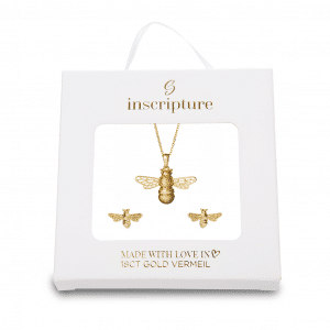 Gold Bee Necklace & Earring Gift Set - Inscripture
