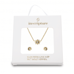 Gold Crystal Sun Necklace & Earring Set Inscripture