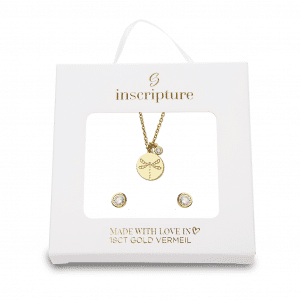 Gold Dragonfly Necklace & Earring Set Inscripture