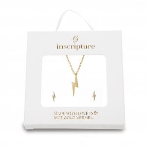 Gold Lightning Necklace & Earring Gift Set