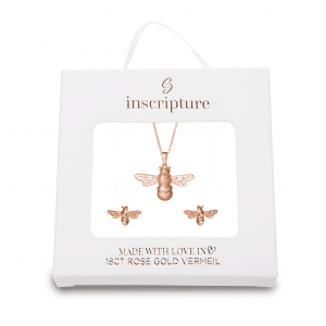 Rose Gold Bee Necklace & Earring Gift Set - Inscripture