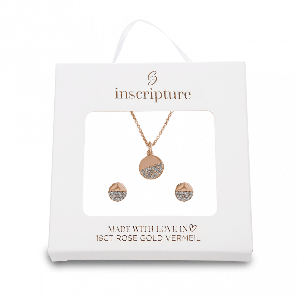 Rose Gold Dipped Crystal Necklace Earring Gift Set