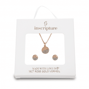 Rose Gold Dipped crystal Necklace & Earrings Set - Inscripture