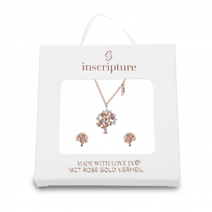 Rose Gold Family Tree Necklace & Earrings Set - Inscripture