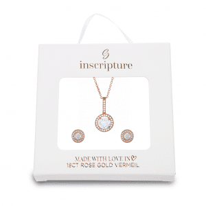 Rose Gold Halo Necklace & Earrings Gift Set Inscripture