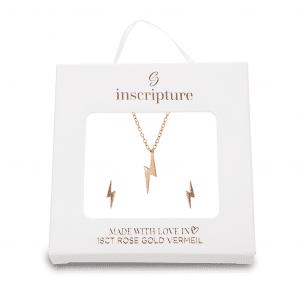 Rose Gold Lightning Bolt Necklace & Earring Gift Set