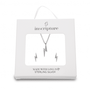 Sterling Silver Lightning Necklace & Earring Gift Set - Inscripture