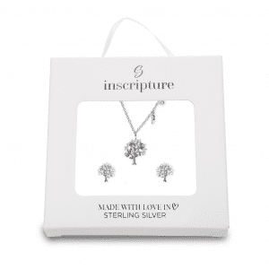 Silver Family Tree Necklace and Earrings Gift Set Inscripture