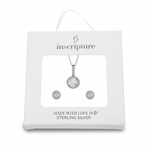 Silver Halo Necklace & Earrings Set - Inscripture