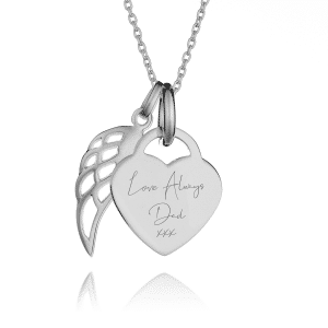 Angel Wing Handwriting Necklace